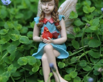 Fairy garden fairy, mini sitting fairy, miniature cardinal bird, sitting fairy, mini fairy, miniature garden, mini fairy miniature garden