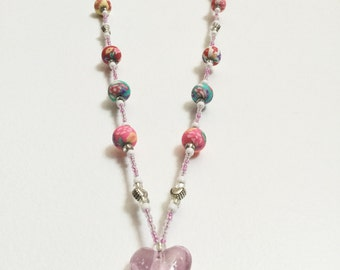Floral Pink Handmade Beaded Lanyard, Name Badge, ID Holder, Magnetic Clasp, Flowers