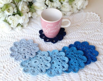 6 Crochet Flower Coasters in Blue Tone Colors - 4 inch or 10 cm