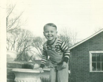1940s Toddler Boy Standing Outside Holding Onto Flower Pot Urn 40s Vintage Photograph Black White Photo