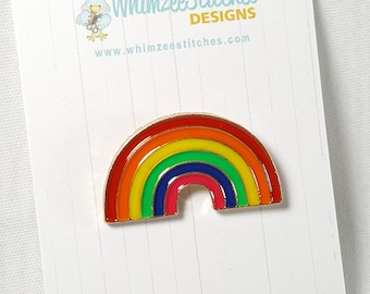 Rainbow Hard Enamel Pin, Gift for knitters / knitting accessories / cute enamel pin EP002