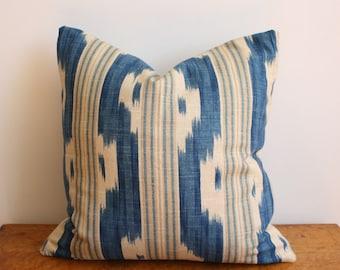 "Handmade Blue & Khaki Ikat Print Pillow Cover - 16"" x 16"""