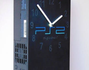 PlayStation 2 PS2 console PlayStation2 fat retro recycled video game console wall clock and table desk clock not only for men or gamer fan