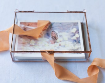 """8 x 10 x 3 and 4"""" and Deeper Clear Glass Photo Display Box - Hinged Top - Jewelry - Collections"""