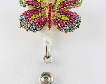 Bright Rhinestone Butterfly Badge Reel