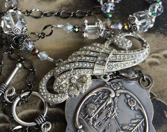 Maison de Jeanne D'Arc, Large locket assemblage necklace, home of Joan of Arc devotional jewelry spiritual religious Domremy vintage antique