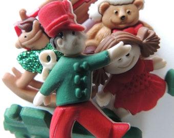 Christmas Train Buttons Teddy Bear Rocking Horse