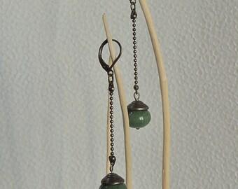 Long earrings green jade beads and bronze metal