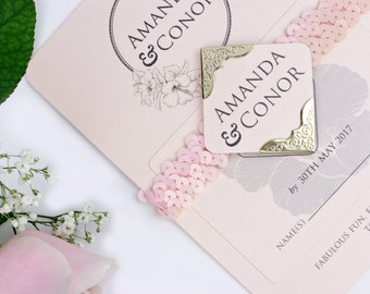 The One - Rose Quartz - Blush Pink - Wedding Invitation Suite with Response / RSVP Card • Belly Band • Modern Luxury