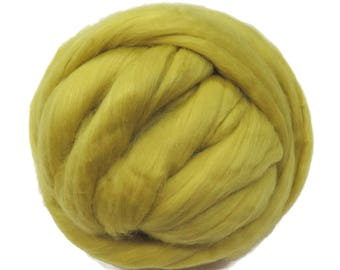 Merino / Silk Roving, Color: Citron - Beautiful Cool Tone Mulberry Wool Silk Blend Fiber for Spinning & Felting