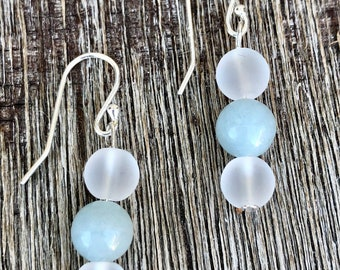 Sterling Silver Earrings with Aquamarine Gemstone and Crystal Quartz