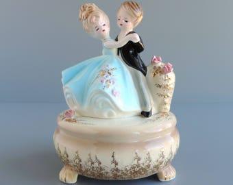 "Vintage Josef Originals ""Anniversary Waltz"" Musical Figurine | Man and Woman Couple Dancing | Music Box Figural | Made in Japan"