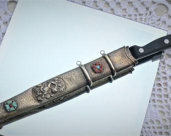 sheath knife with coral and turquoise