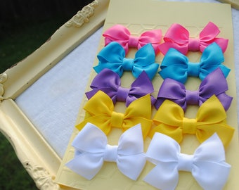 Tiny Baby Hairbows - 5 PAIRS - Mini Hair Clips - Itty Bitty Half Pinwheel Bow - Pigtail Hair Bows - Baby Girl Gift Pack - Infant Hairbow Set