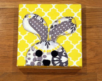 Gray & Yellow Bunny - Nursery Wall Art - Toddler Room Wall Art - Fabric Canvas Print - In Stock Ready to Ship
