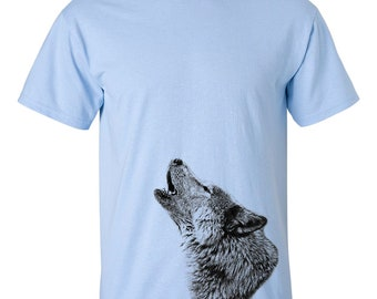 CLEARANCE, Howling Wolf Tshirt, Wolf T Shirt, Wildlife, Wild Animal Tee,  sm-5xl plus size