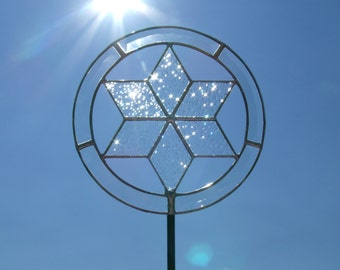 Elegant Interfaith Christmas Tree Topper for Blended Families, Jewish Star of David, Stained Glass Tree Toppers