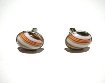 Vintage unique mens swirled glass Marble cuff links Silver tone retro brown orange white