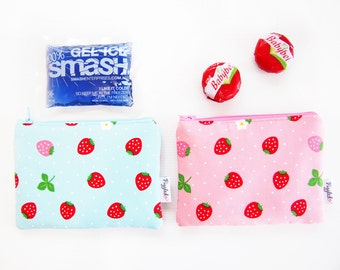 Mini Insulated Snack Bag -  Strawberry (Blue or Pink)
