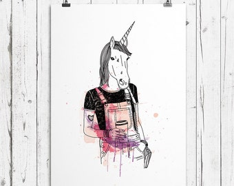 Unicorn illustration poster for home decor