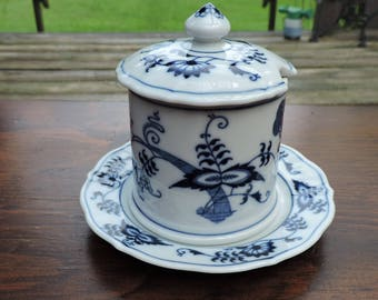 BLUE DANUBE Jam or Jelly Jar with Underplate Japan