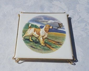 French vintage Tile and Metal Frame Trivet, Hound and pheasant decor , Tile Pot Stand , Hunting decor