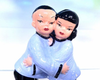 Mid Century Ceramic Oriental Boy and Girl Figurine - Vintage Wedding Cake Topper- Made in Japan - Blue and Black - 1950s
