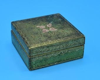 Delayed Shipping Italy Trinket Box Vintage Florentine Gold Gilt Box Jewelry Storage Holder Pink Flowers Wedding Decor Gift for Her Anniversa