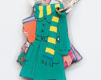 Summer Paper Doll Laminated Necklace