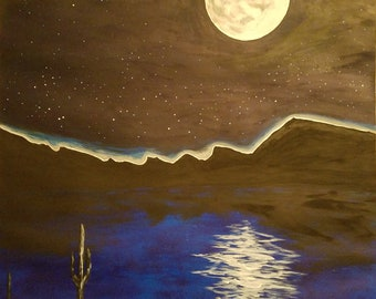 Arizona Original Art Print From Painting Arizona Sky Lake Full Moon Mountains