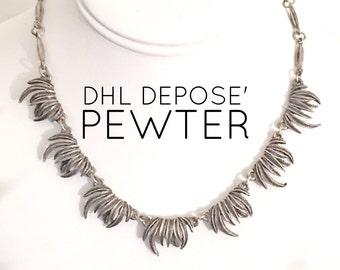 Vintage DHL Depose' Pewter Necklace