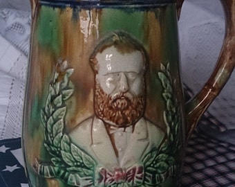 Majolica pitcher / jug commemorating Ulysses Grant, Civil War General and President of the United States.