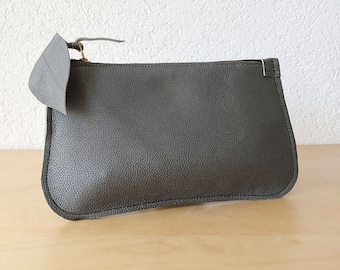 Today Christmas Sale - Dark Grey Leather Clutch. Gunmetal Leather Clutch. Small Makeup Pouch. Small Leather Bag Leather Evening Purse.