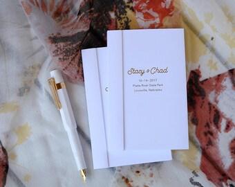 Wedding Favors Notebook, Custom Pocket Notebooks, Personalized Notepad, Gold Foil, Silver Foil, Foil Lettering