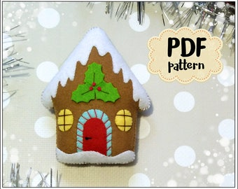 Gingerbread house felt pattern Christmas pattern felt Gingerbread house PDF pattern Gingerbread house sewing pattern Christmas ornaments