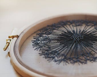 Black  Dandelion Tulle Embroidery Hoop Wall Hanging - Bridesmaid, Housewarming Gift - OOAK Home Wall Art Decor- Blackwork Hand Embroidery