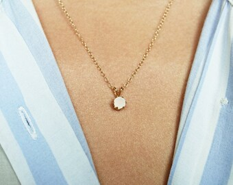 Chalcedony Necklace, Dainty Necklace, Minimalist Necklace, Chalcedony Jewelry, Gold Necklace, White Gemstone Necklace, White Stone Necklace