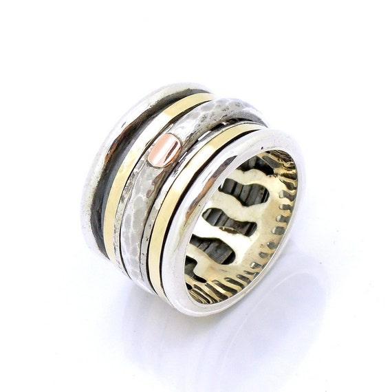 Fabulous Brede zilveren ring gehamerd goud & zilver kant ring spinner &VG92