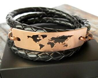 World Map Bracelet / Globe Bracelet / Copper World Bracelet / Travel Gift