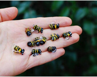 Bee beads, Set of 5 lampwork bee beads, glass bumble bee, lampwork beads set, insects beads, bee beads, honey bee murano glass, glass bees