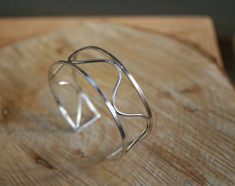 Solid Sterling Silver Wavy Cuff, Hallmarked