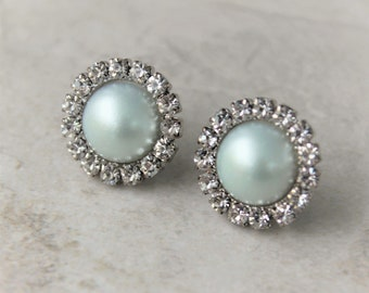 Mint Green Earrings, Mint Earrings, Stud Earrings, Mint Bridesmaid Earrings, Pale Mint Wedding Jewelry, Mint Green Wedding