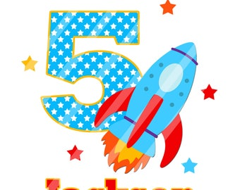 Spaceship Birthday Number Personalized Digital Download for iron-ons, heat transfer, Scrapbooking, Cards, Personalized, DIY YOU PRINT