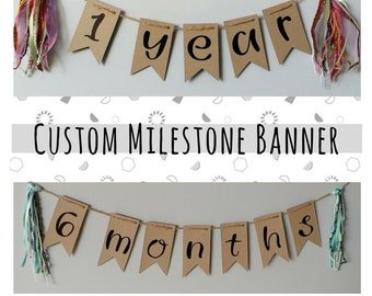 CUSTOM MILESTONE- recycled kraft handlettered bunting banner with vintage mixed fiber tassels- baby photo prop- weeks, months or years