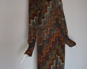 Vintage 70s MISSONI  iconic sweater DRESS with brown wavy chevron design