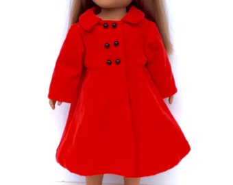 18 Inch Doll Clothes, Red Velveteen Coat, Red Doll Coat, Winter Doll Clothes