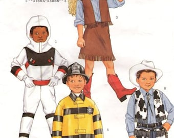 Butterick 3244 Children's easy costumes Cowboy Cowgirl Spaceman Fireman Sz 6,7,8