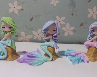 Mermaid figurine in fimo, polymer clay