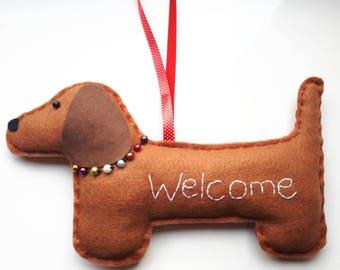 Handmade Dachshund Sausage Dog Decorative Welcome Hanging / Sign / Gift