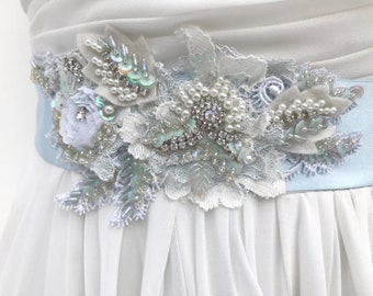 Beaded Lace Bridal Sash /Crystal Pearl Wedding Sash /  Vintage Style / Light Blue / Wedding Dress Sash /  Flower Sash / Boho / Bridal Blue
